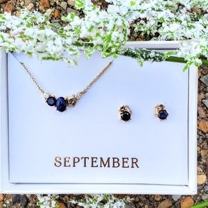 September Birthstone Necklace and Earrings Set
